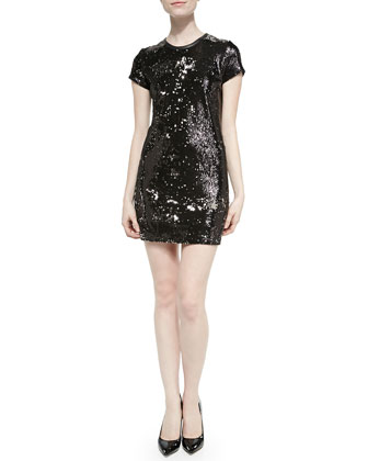 Leather-Trim Sequined Short Dress