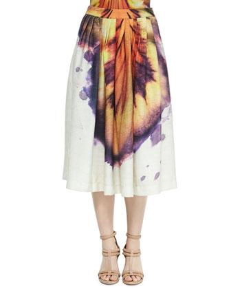 Runway Deep-V Large Hibiscus-Print Maillot & Runway Pleated Large ...
