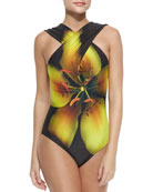 Cross-Front Flower-Print One-Piece
