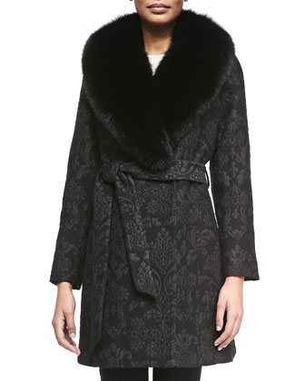 Damask Brocade Wrap Coat with Fur Trim