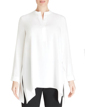 Leona Silk Long Blouse, Cloud, Women's
