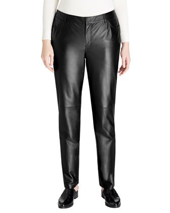 Curve Lambskin Leather Pants, Black, Women's