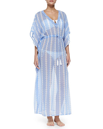 Ocean Blues Printed Maxi Coverup
