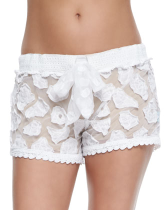 Crochet Coverup Shorts & Microfiber Boyshort Underwear