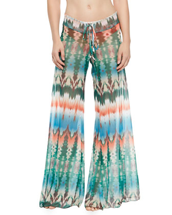 Twist-Front Bandeau Swim Top, Classic Swim Bottom & Tie-Dye Coverup Pants