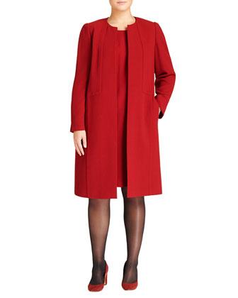 Crepe Soraya Open Coat, Auburn
