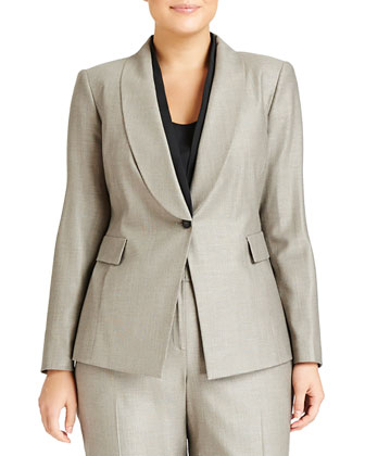 Adira One-Button Suiting Jacket, Espresso Multi