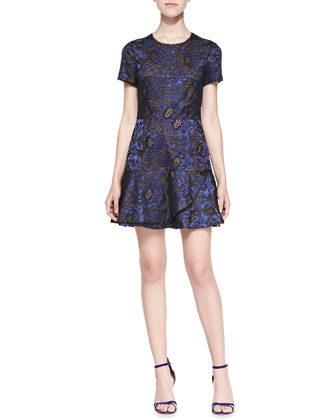 Marissa Short-Sleeve Metallic Lace Dress