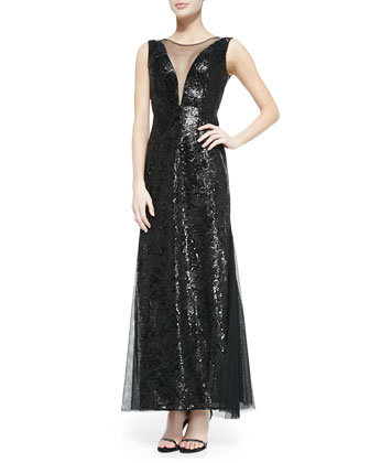 Evette Sleeveless Sequined Lace Gown