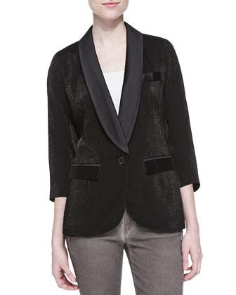 Dickens Half-Sleeve Blazer W/ Satin Accents