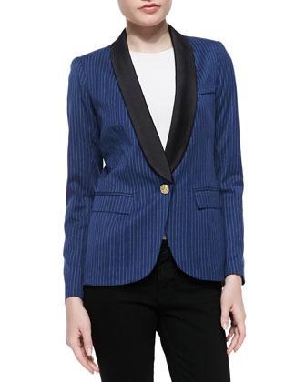 Dickens Half-Sleeve Pinstriped Blazer