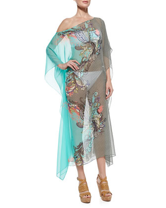 Mixed-Print Sheer Chiffon Coverup