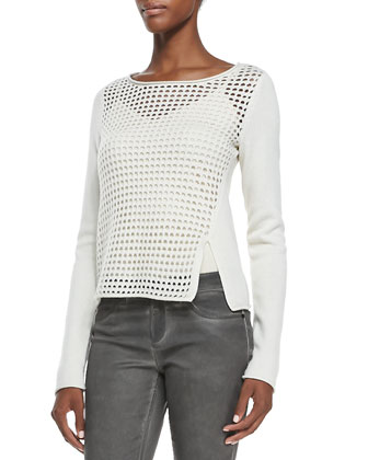Leann Wool-Blend Coat, Jacqueline Mesh-Front Sweater & Azella Marble Wash Jeans