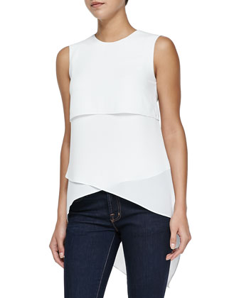 Lynzi Layered Top W/ Asymmetric Hem