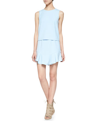 Vivian Sleeveless Dress W/ Ruffled Hem