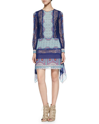 Caralyne Long-Sleeve Lace & Abstract- Print Tunic