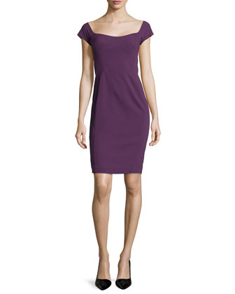 Short-Sleeve Wide-Neck Sheath Dress, Orchid
