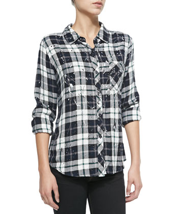 Plaid/Splatter-Print Blouse