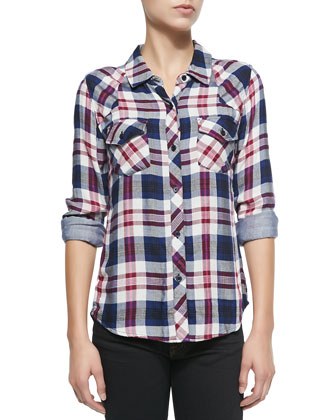 Kendra Long-Sleeve Plaid Shirt