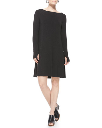 Cozy Stretch Jersey Dress W/Thumbhole Cuffs