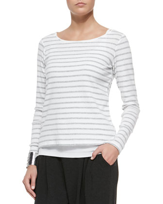 Long-Sleeve Striped Tee, Organic Cotton Slim Tank & Cozy Slouchy Ankle ...