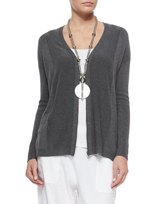 Cozy V-Neck Zip-Front Cardigan, Petite