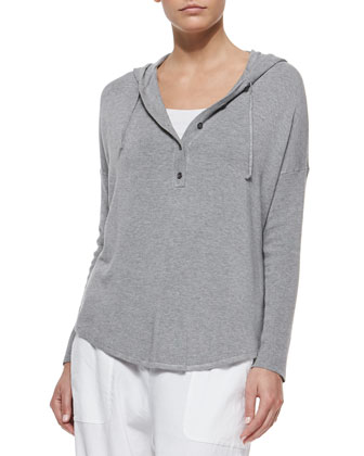 Hooded Henley Poncho Top, Organic Cotton Slim Tank & Drawstring-Waist ...