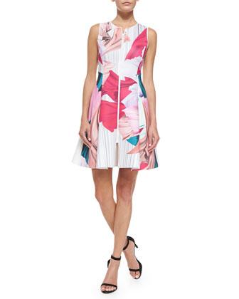 Dancing Silk-Print Scuba Dress