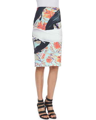 Floral Spilled Milk/Tar Crop Top & Tar Pencil Skirt