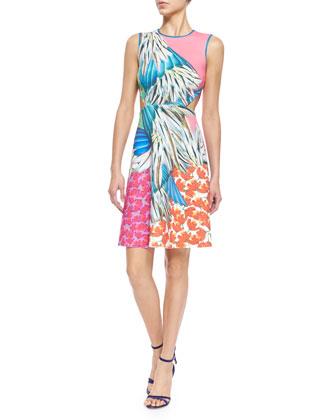 Carnival-Print A-Line Scuba Dress