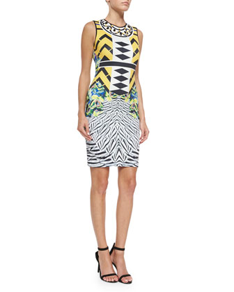 Toucan Sleeveless Tropical-Print Scuba Dress