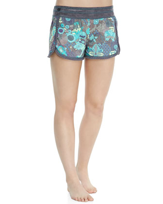 Printed Trimmed Coverup Shorts