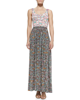 Mixed-Print Jersey Maxi Dress