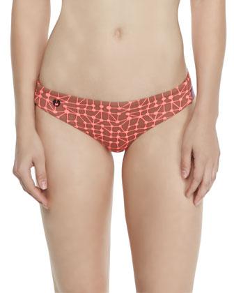 Printed Fringe Swim Top & Signature-Cut Reversible Swim Bottom