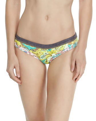 Mixed-Print Underwire Swim Top & Signature-Cut Printed Swim Bottom