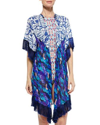 Fringe-Trim Printed Kimono Coverup