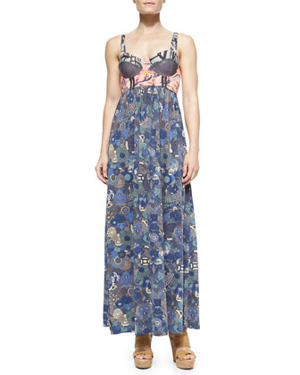 Mixed-Print Underwire Maxi Dress