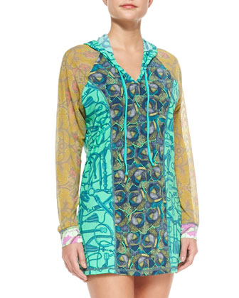 Mixed-Print Chiffon Hooded Coverup