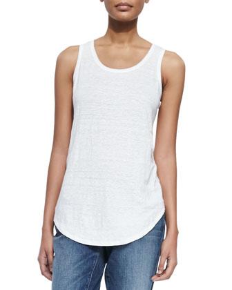 Organic Linen Jersey Tank, White, Women's