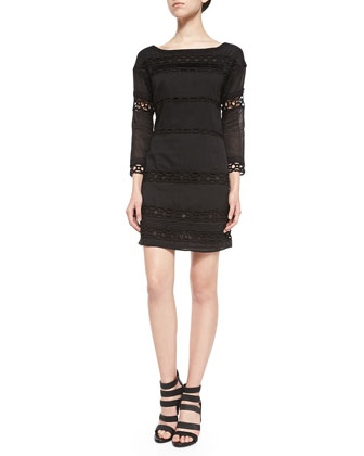 3/4-Sleeve Dress W/ Netted Lace Bands
