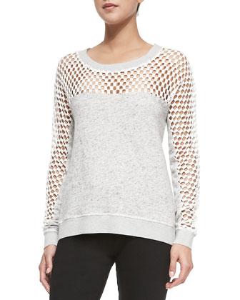 Boat-Neck Sweatshirt w/ Crochet Inset