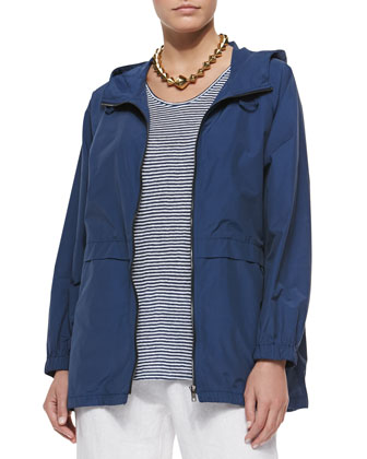 Hooded Anorak Jacket, Striped U-Neck Long Tank & Organic Stretch Twill Slim ...