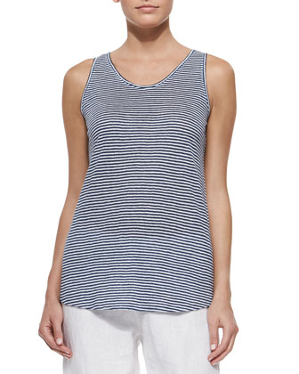 Striped U-Neck Long Tank, Denim/White, Petite