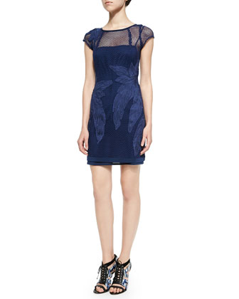 Ivy Mesh Dress W/ Leaf Appliqu??s