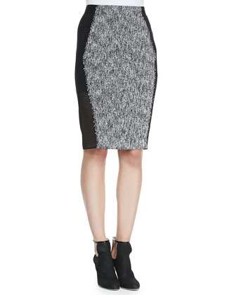Alejandra Fringe-Trim Silk Blouse & Willow Tweed Pencil Skirt