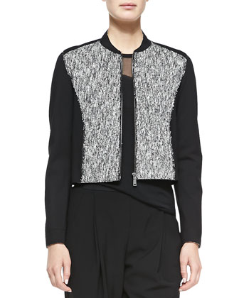 Cleary Tweed Boxy Jacket, Kaori Sweater with Mesh & Presley Crepe Pants ...