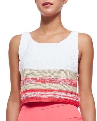 Alegria Cropped Colorblocked Crocheted Vest