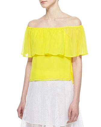 Dev Off-The-Shoulder Ruffled Top & Pipa Mesh Midi A-Line Skirt