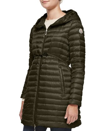Barbel Hooded Down-Fill Knee-Length Jacket, Olive