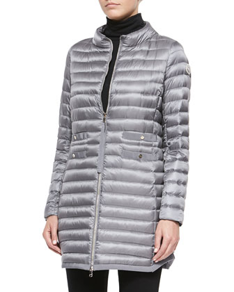 Aubry Long Mock-Neck Puffer Jacket, Light Gray